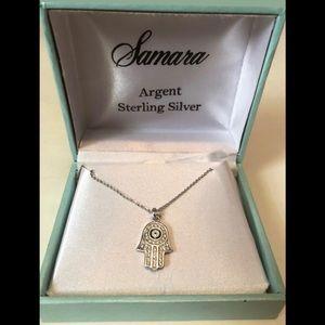 Sterling Silver Hamsa Hand Pendant